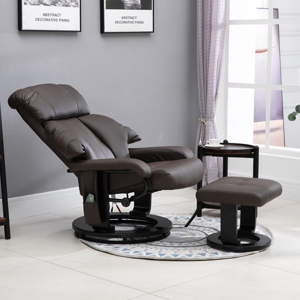 Shop PU Leather Massage Swivel Recliner Chair and Ottoman