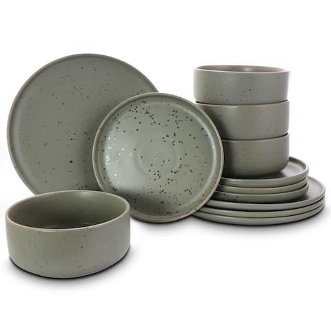 Gibson Home Stone Lava 12-Piece Dinnerware Set, Matte Grey