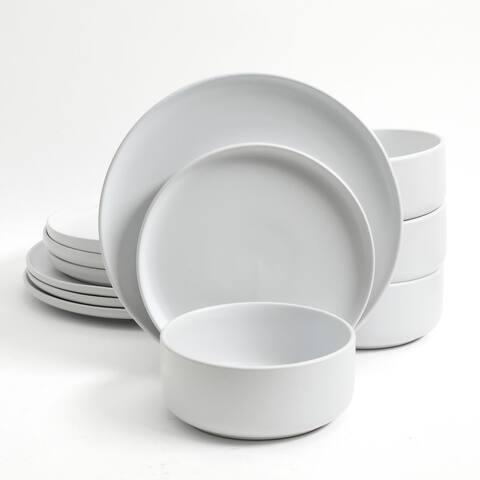 Gibson Home Stone Lava 12-Piece Dinnerware Set, Matte White