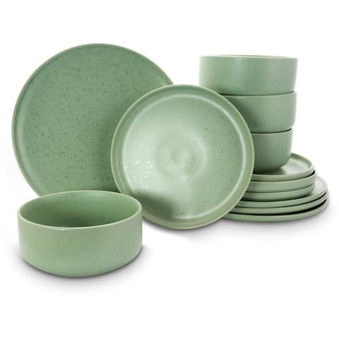 Gibson Home Stone Lava 12 Piece Dinnerware Set in Matte Mint