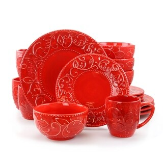 Link to Gibson Cassis 16 Piece Stoneware Dinnerware Set in Red, Service for 4 Similar Items in Dinnerware
