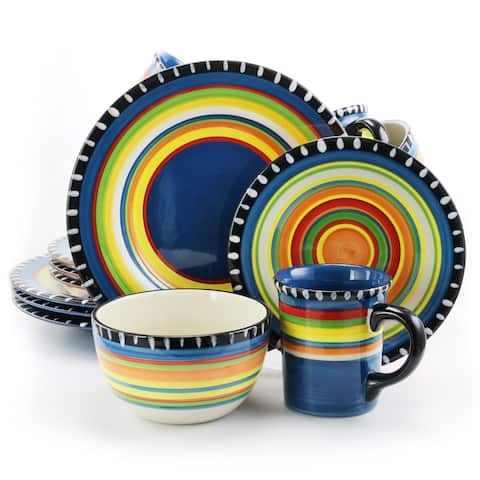 Pueblo Springs Spanish Festival 16Pc Durastone Dinnerware Set Cobalt