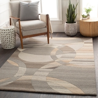 Hand-Tufted Contemporary Mayflower Circles Wool Area Rug - 8' x 11'