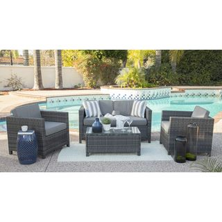 Link to Rhonn 4-piece Squared Wicker Outdoor Sofa Set by Havenside Home Similar Items in Patio Sets