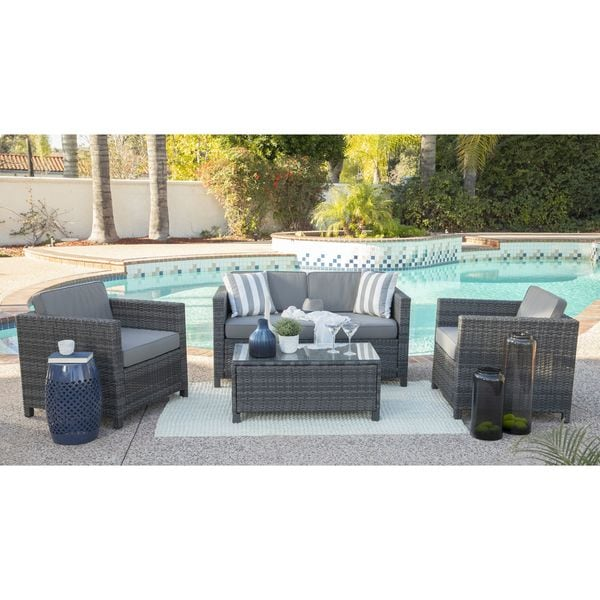 Rhonn 4-piece Squared Wicker Outdoor Sofa Set by Havenside Home. Opens flyout.