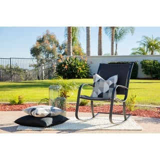 Rhonn Brown/Black Wicker Outdoor Rocking Chair by Havenside Home