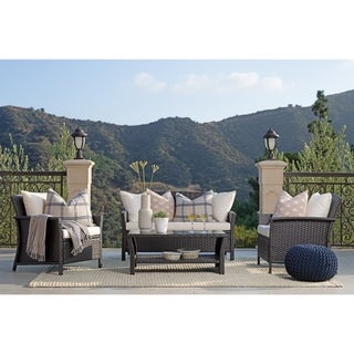 Link to Rhonn 4-piece Brown/White Curved Wicker Outdoor Sofa Set by Havenside Home Similar Items in Outdoor Loveseat