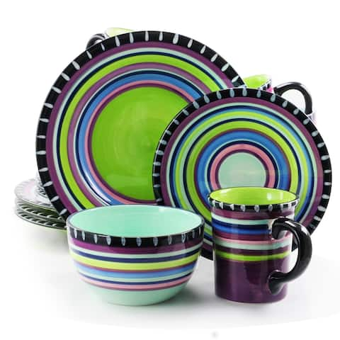 Pueblo Springs Spanish Festival 16 Piece Dinnerware Set in Purple