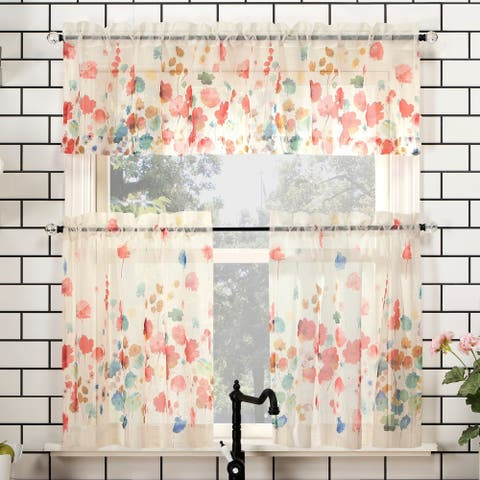 No. 918 Rosalind Floral Watercolor Semi-Sheer Rod Pocket Kitchen Curtain Valance and Tiers Set
