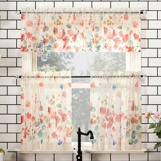 No. 918 Rosalind Floral Watercolor Semi-Sheer Rod Pocket Kitchen Curtain Valance and Tiers Set
