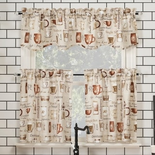 No. 918 Bristol Coffee Shop Semi-Sheer Rod Pocket Kitchen Curtain Valance and Tiers Set