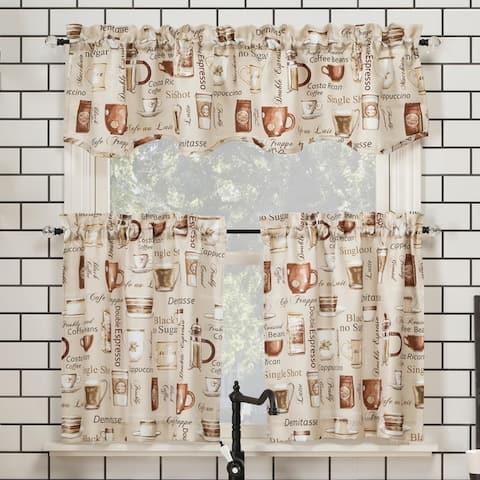 No. 918 Bristol Coffee Shop Semi-Sheer Rod Pocket Kitchen Curtain Valance and Tiers Set