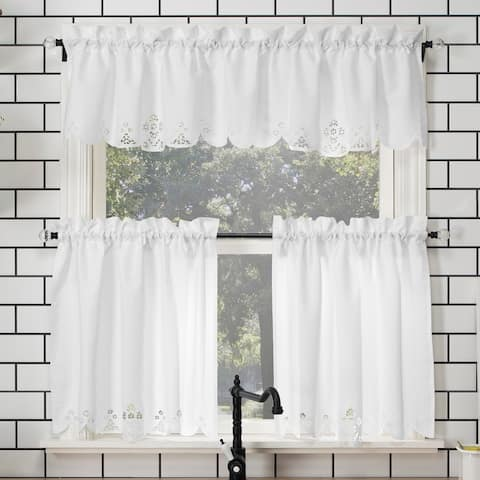 No. 918 Mariela Floral Trim Semi-Sheer Rod Pocket Kitchen Curtain Valance and Tiers Set