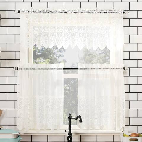 No. 918 Joy Macrame Lace Trim Semi-Sheer Rod Pocket Kitchen Curtain Valance and Tiers Set