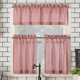 No. 918 Parkham Farmhouse Plaid Semi-Sheer Rod Pocket Kitchen Curtain Valance and Tiers Set