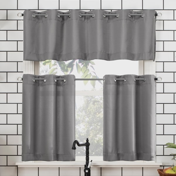 No. 918 Dylan Casual Textured Semi-Sheer Grommet Kitchen Curtain Valance and Tiers Set