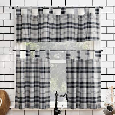 No. 918 Blair Farmhouse Plaid Semi-Sheer Tab Top Kitchen Curtain Valance and Tiers Set