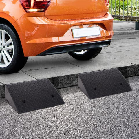 HOMCOM Set of Two Rubber Car Curb Ramps