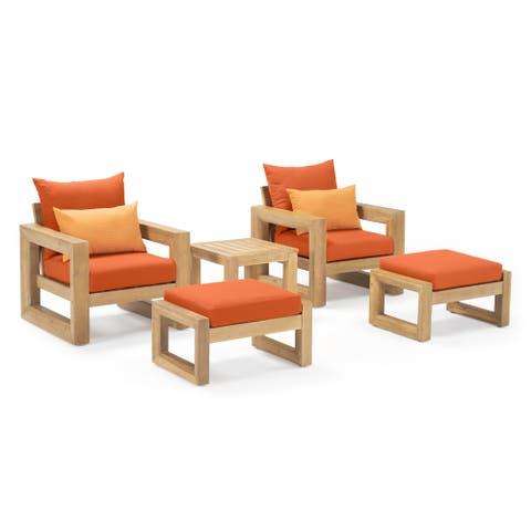Benson 5pc Club Chair & Ottoman Set in Tikka Orange by RST Brands