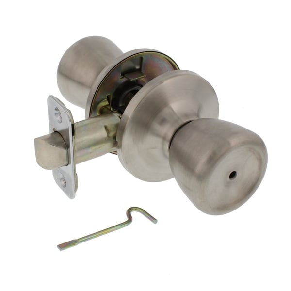 Ultra Security 83977 Grade 3 Tulip Knob Interior Privacy Door Knob, Keyless, Stainless Steel Finish