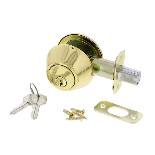 Ultra Security 83967 Grade 3 Polished Brass 1-Cylinder Deadbolt Lock Set