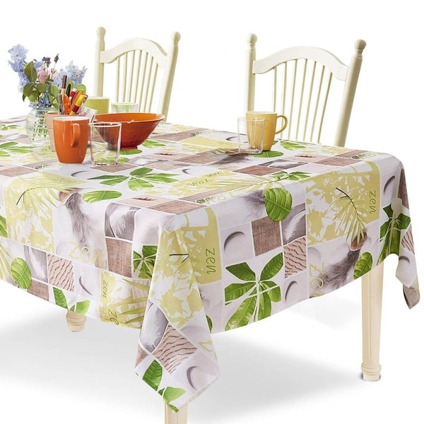"Polyester Spillproof Rectangle Tablecloth 60"" X 104"" Green Plants"
