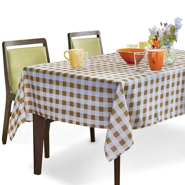 """Polyester Spillproof Rectangle Tablecloth 60"""" X 84"""" Yellow and White Checkered"""