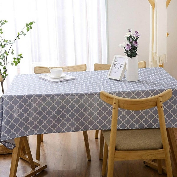 "Rectangle Polyester Fabric Tablecloth Stain Proof 60"" x 102"" Light Grey"