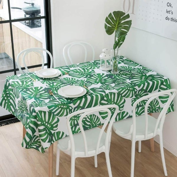 "Rectangle Polyester Fabric Tablecloth Stain Proof 60"" x 120"" Green Leaves"