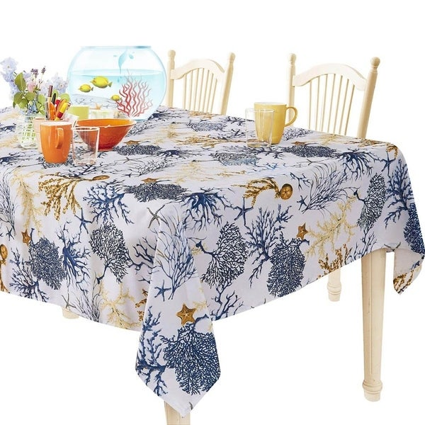 """Polyester Spillproof Rectangle Tablecloth 60"""" X 104"""" Blue Tree"""