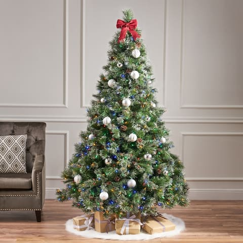 7-foot Cashmere Pine and Mixed Needles Pre-Lit Multicolor LED Artificial Christmas Tree by Christopher Knight Home