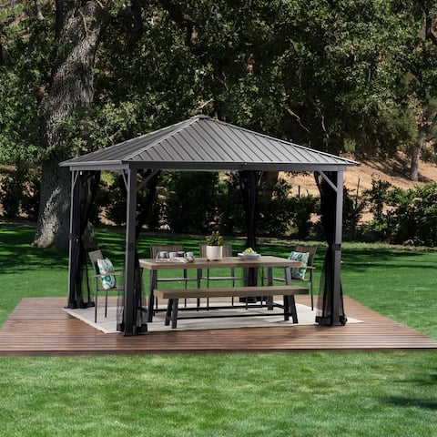 Pablo 10' x 10' Outdoor Modern Hardtop Aluminum Gazebo by Christopher Knight Home