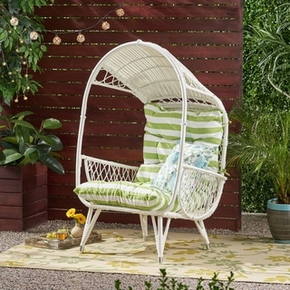 Link to Malia Outdoor Standing Wicker Basket Chair with Cushion by Christopher Knight Home Similar Items in Patio Furniture