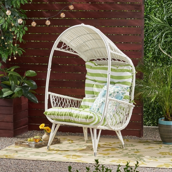 Malia Outdoor Standing Wicker Basket Chair with Cushion by Christopher Knight Home