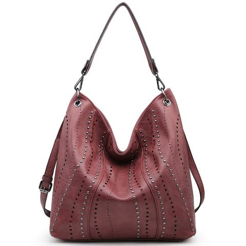 Soft Water Wash Faux Leather Decorative Studs Hobo Bag