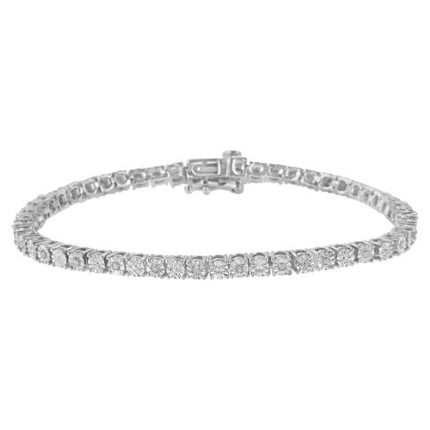 Sterling Silver 1/4 ct TDW Diamond Tennis Bracelet(I-J, I3-Promo)