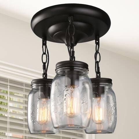 "Industiral 4-lights Cage Flush Mount Ceilling Lighting - 3.75""x 3.75""x 6.6"""