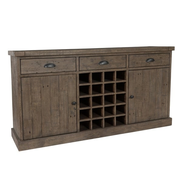Reclaimed Wood Sideboard with 3 Drawers and 2 Doors, Distressed Gray