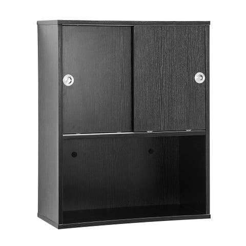 BarberPub Wall Mounted Styling Station Storage Cabinet with Sliding door Salon Beauty Spa Equipment 7136
