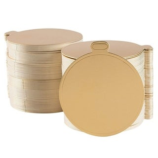 """Mini Cake Boards with Tabs 200-Pack Metallic Gold 3.5"""" Round Base,  Plain Blank"""