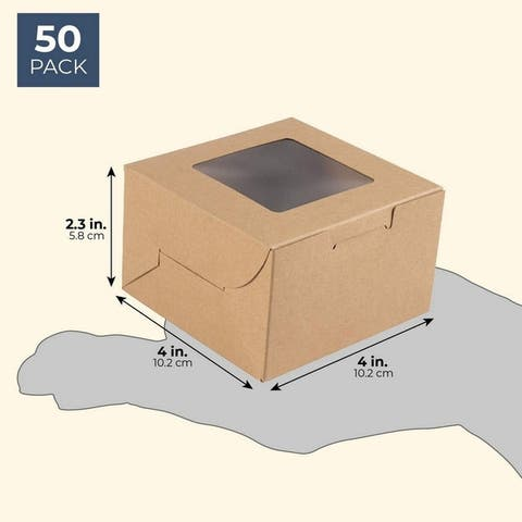 50-Pack Bakery Pastry Box with Clear Display Window, Donut, Mini Cake, Kraft
