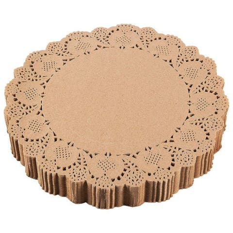 """250 Paper Doilies Round Lace Placemats for Weddings Party Decoration Brown 12"""""""