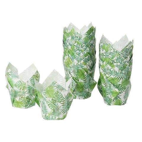 100-Pack Cupcake Muffin Liners Baking Cups for Weddings Baby Showers, Palm Leaf
