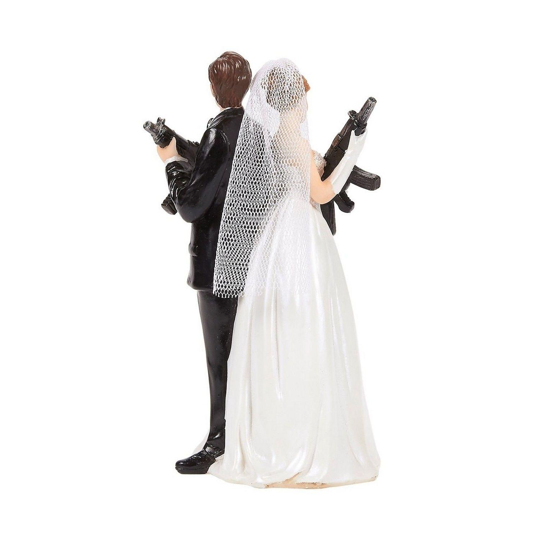 Shop Black Friday Deals On Wedding Cake Topper Bride Groom Holding Rifles Funny Figures 3 X 6 X 3 Overstock 29875335