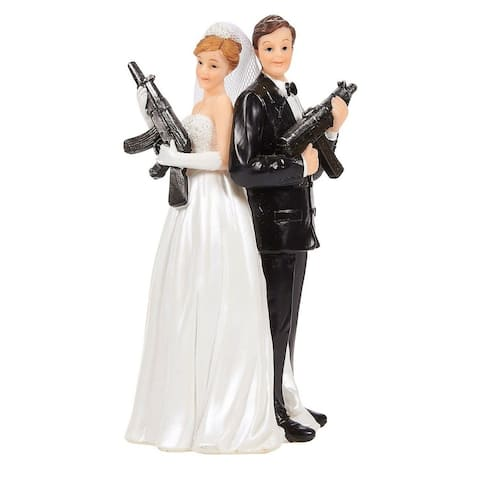 Wedding Cake Topper - Bride Groom Holding Rifles Funny Figures, 3 x 6 x 3""