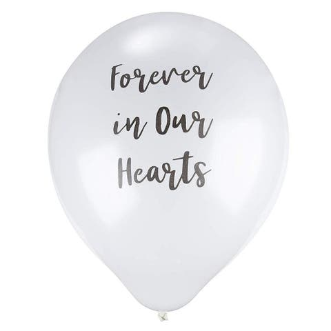 """30-Pack White Memorial Balloons with Black Forever in Our Hearts Text, 12"""" dia"""