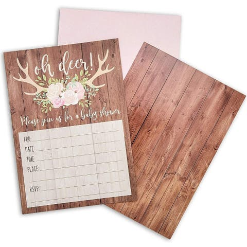 36-Pack Oh Deer Rustic Woodland Baby Shower Party Invitations and Envelopes