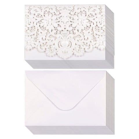 """Set of 24 Luxurious Laser Cut Blank Wedding Invitations with Envelopes 5""""x7.25"""""""