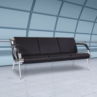 Kinbor 3-seat Waiting Room Chair, PU Leather Airport Reception Bench, Guest Chair for Bank Salon Office Hospital
