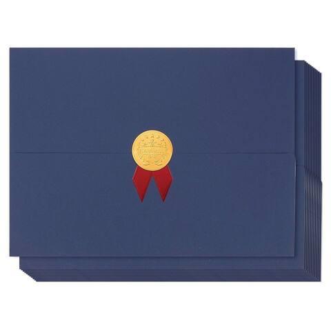 "12-Pack Certificate Holder Diploma Award Cover Letter-Sized 12.5"" x 9.2"", Blue"
